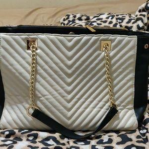 Black and cream purse